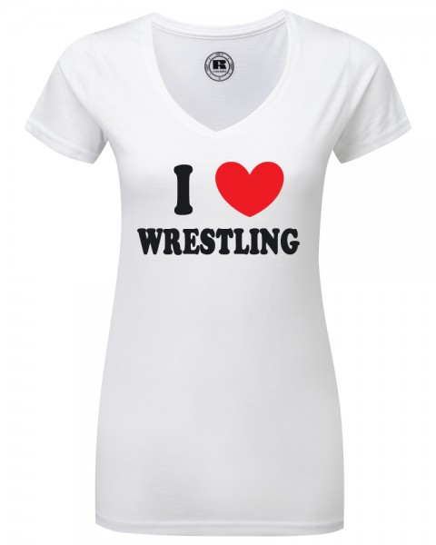 WOW I Love Wrestling V Neck Damen