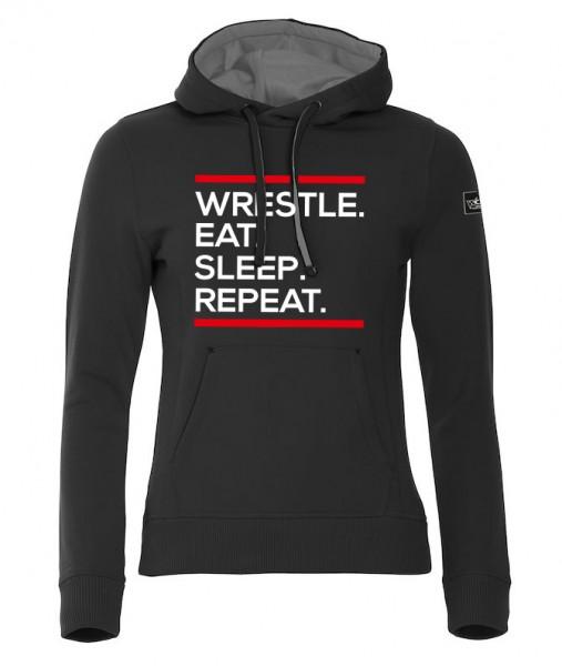Wrestle Eat Sleep Repeat Hoody Damen