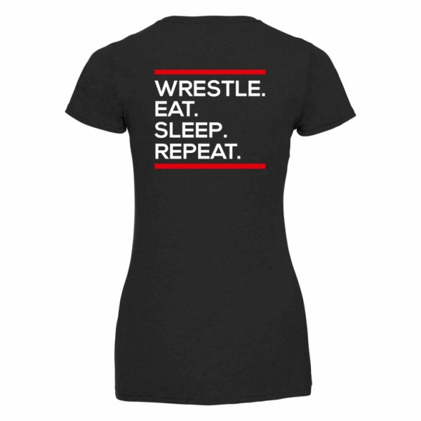 Wrestle Eat Sleep Repeat T-Shirt Damen