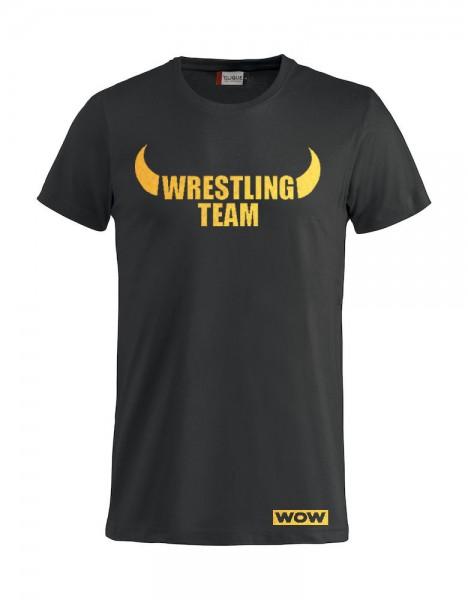 WOW Wrestling Team T-Shirt Gold Folie Damen / Herren