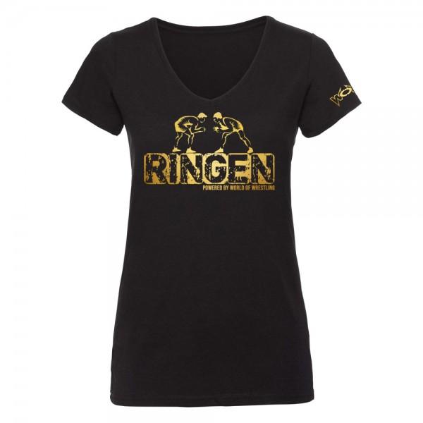 RINGEN Powered By World of Wrestling T-Shirt Damen