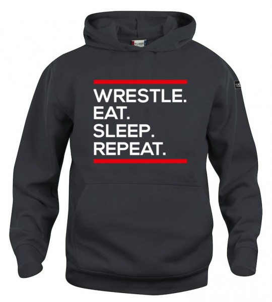 Wrestle Eat Sleep Repeat Hoody Kinder