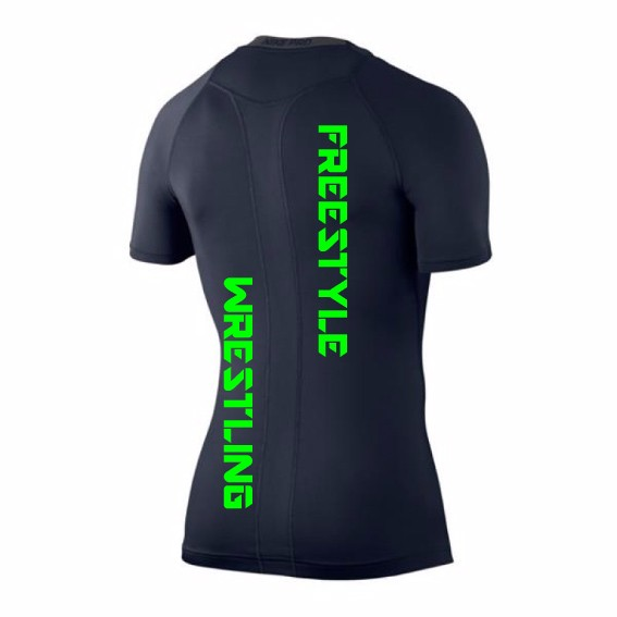 Nike Pro Compression Techfit Shirt mit WOW Wrestling Freestyle Druck